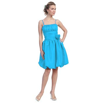 Turquoise Bubble Dress Knee Length Empire Flower Spaghetti Strap
