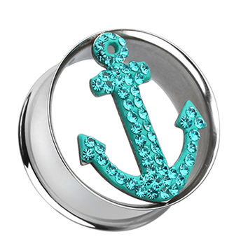 Anchor Dock Sparkling Tunnel Ear Gauge Plug