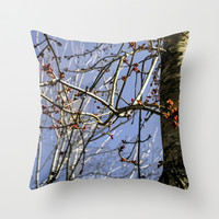 Tree with Red Berries Nature Photography Throw Pillow by Modern Art & Designs