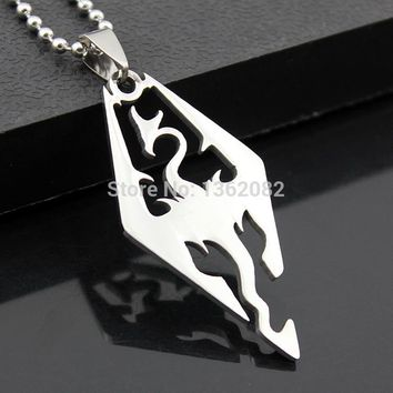 Silver Tone Cool Men's Jewelry The Elder Scrolls Oblivion Stainless Steel Skyrim Dragon Pendants Necklace MN394