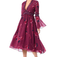 Plunge floral print ruffle piped trim georgette dress