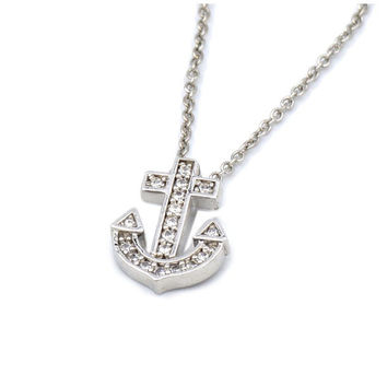 Anchor CZ Necklace (Small Petite Minimalist Genuine Rhodium Plated Brass Jewelry CZN126-S)