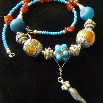 Chunky Turquoise Thai Amber Snake Necklace- Medusa in Thailand