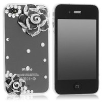 3D Bling Crystal Rhinestone Flower Transparent Case Cover for Apple Iphone 4 and 4s
