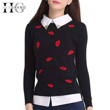 HEE GRAND New Fake Turn-Down Collar Autumn Winter Women Sweater 2016 Casual Pullover With Lips Appliques Pull Femme WZM833