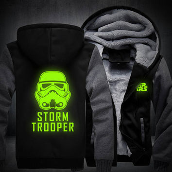 USA size Men Women Star Wars Darth Vader Luminous Jacket Sweatshirts Thicken Hoodie Coat Clothing Casual