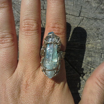 Raw aqua aura quartz crystal ring, aqua aura crystal wire wrap ring, aqua crystal ring, crystal gypsy jewelry, reiki crystal ring, third eye