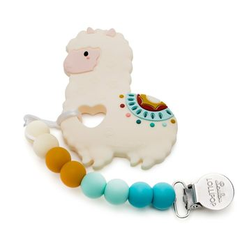 Loulou LOLLIPOP Llama Silicone Baby Teether Holder Set