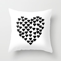 Hearts Heart Black and White Throw Pillow by Project M