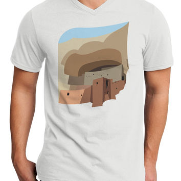 Montezuma Castle Artwork Adult V-Neck T-shirt