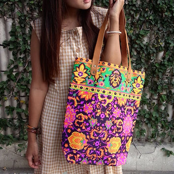 Paint bag, Colorful Neon Printed, Tribal bag, Vivid Yellow violet, Tote bag, Canvas, Hipie bag, Weekender bag, Thailand Handmade, Boho Bag