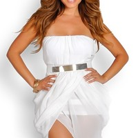 White Grecian Flowy Mini Dress with Designer Belt