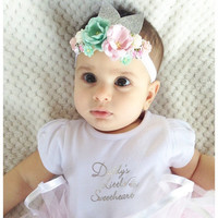 Baby girl headband floral headband flower crown baby crown silver birthday headband baby headband floral crown photo prop