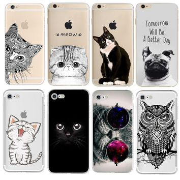 Case For iPhone X 8 4 4S 5 5S SE 5C 6 6S 7 Plus Soft TPU Silicon Cover Cat Phone case