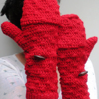 Red convertible Mittens Fingerless Gloves, crochet gloves, made to order.