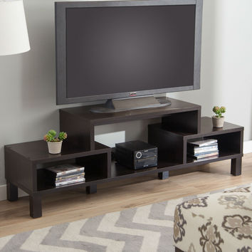 Modern 60-inch TV Stand in Contemporary Dark Brown Espresso Wood Finish