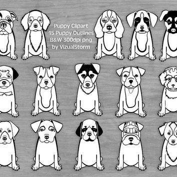 Black Line Puppy Clipart, B&W Puppy Outlines, Puppy Coloring Book Clipart For Kids, Pet Scrapbooking Clipart, Cute Puppies Coloring Clipart