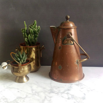 Copper Coffee Pot/ Rustic Copper Teapot/ Primitive Copper Coffee Pot/ Primitive teapot/ Vintage Copper Pot/ Copper Decor/ Portugal