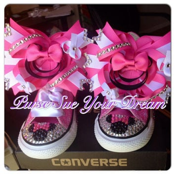 Custom Minnie Mouse Crystal Rhinestone Converse Shoes - Minnie Mouse  Birthday - Minnie 00fed55e6