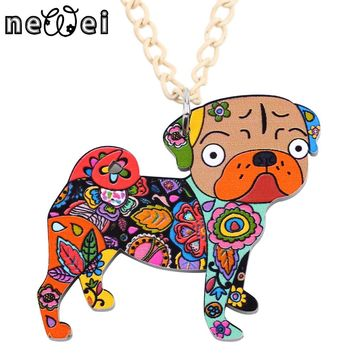 Newei Acrylic Pug DOG Necklace