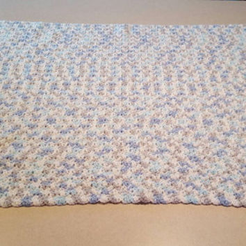 Blue, Grey, and White Variegated Crochet Baby Blanket