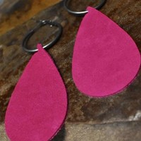 Pink Leather Tear Drop Earrings with Hoops