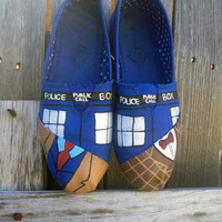 Custom Hand Painted Doctor Who Toms Shoes, Hand Painted Doctor Who Tardis Canvas Sneakers