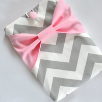 iPad Mini Sleeve iPad Mini Case iPad Mini Cover Kindle Nook Nexus Grey Chevron with Pink Bow