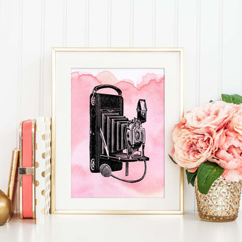 Vintage Camera Art Print, Pink Watercolor Print, Nursery Decor, Gift for Photographers, Chic Decor, Travel Nursery Print for Baby Girl, P007