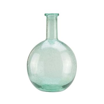 "14"" Marine Inspired Round Light Blue Hand Blown Bubble Glass Vase"