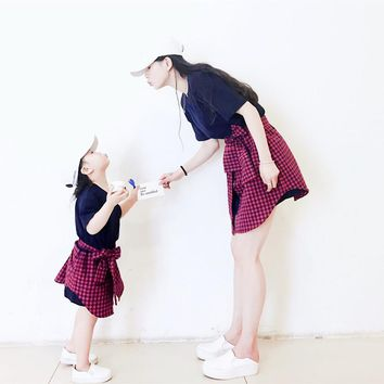 Korean style mom daughter Fake two pieces lattice T-shirt dresses family matching clothes Short sleeve kids parent child outfits