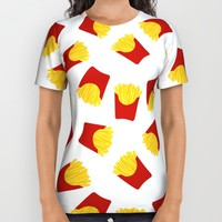 FRENCH FRIES POMMES FAST FOOD PATTERN All Over Print Shirt by deificus Art