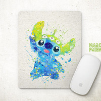 Stitch Mouse Pad, Disney Watercolor Art, Mousepad, Home Decor, Gifts Idea, Art Print, Nursey Decor, Office Desk, Disney Accessories