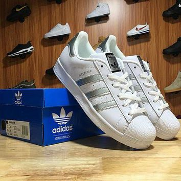 LMFON6GS Adidas Superstar Shell-toe Flats Sneakers White Gray Line Causel Sport Shoes