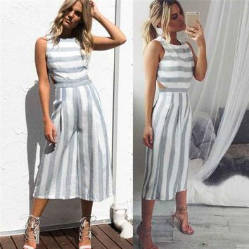 Jumpsuit Bohemian  New Women Sleeveless Striped Jumpsuit Casual Clubwear Wide Leg Pants Outfit Playsuit Overalls feminino July 11
