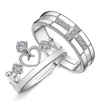 JS Cheap Korean 925 Silver King Queen Princess Couple Crown Shaped Ring Women Rhinestone Crystal Cross Promise Rings Pairs SR016