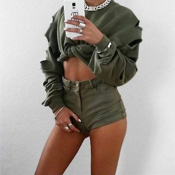 PEAPJ1A Long-sleeved hole pierced personality short paragraph sweater