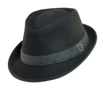 Dorfman Pacific Men's Wool Blend Fedora Hat with Herringbone Band