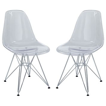 Paris Dining Side Chair Set of 2 Clear EEI-1261-CLR