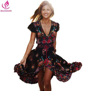 BellFlower Summer Boho chic Ethnic Print Retro Beach dress clothing  Hippie Dress