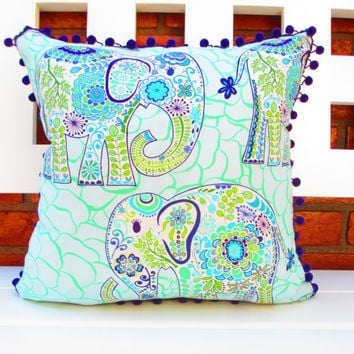 Room decor for teen girls, Bohemian pillow cover, Lucky Elephant Pillow, bohemian Bedding, boho room decor, light blue and purple elephant