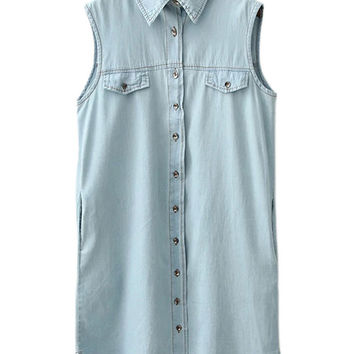 Light Blue Sleeveless Fake Pockets Buttons Front Denim Dress