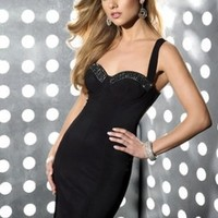 Cheapest Unique Straps Sweetheart Neckline Beads Working Black Satin Tea Length Cocktail Dress