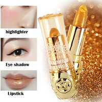 2017 New Fashion Gold Cosmetics Multifunction Highlighter Eyeshadow Lips Stick Pigment Shimmer Gold Lipstick Makeup