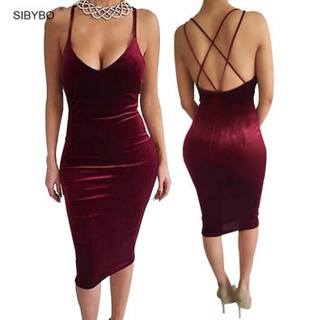 Sexy Club Dress 2016 Vestidos New Fashion Sleeveless Slim Backless Velvet Cross Strapless  Bandage Bodycon Party Dresses