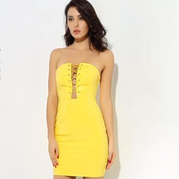 CoCo My Lellow Lace Up Dress