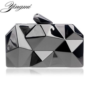 YINGMI women evening bags geometric design purse day clutches handbags chain shoulder evening bags