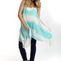 Mint Green Tie Dye Lace Accent Maternity Tank Top