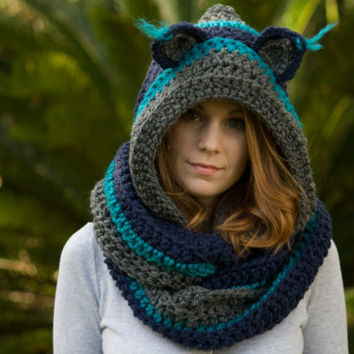 RESERVED Hooded Scarf with Cat Ears, Blue Crochet Scarf