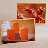 Photo Christmas Card, Boxed Set of 10 Holiday Notecards with Candles And Frozen Rosehips, Textured Photos, Fine Art Photography